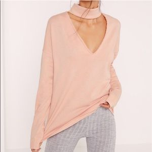 Missguided choker blush sweater sweatshirt